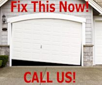 Broken Garage Door - Rollers Off Track